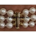Gouden slotje voor 3 rijige parelarmband of parelketting JKa 585 magnetisch