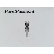 Zilveren hanger solitair zirkonia met pin voor parel stevig 14mm