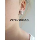 Parel oorhangers  roze 10,2mm zoetwaterparels AAA, zilver 925
