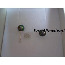 Donkere pareloorbellen AAA kleine 6mm zoetwaterparels zilver