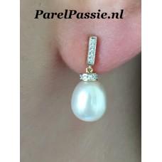 Diamant pareloorbellen gouden 14k 585 echte parels