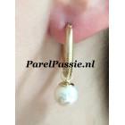 Pareloorbellen met  cultivé  9.3mm gouden creolen 20mm oorbellen 14k 585 satin