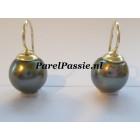 Tahiti pareloorbellen 14k goud JKa, grote 13mm zoutwater parels
