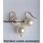 Parelset oorbellen hanger zilver verguld AAA 11 mm grote zoetwaterparels