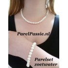 Parel set ketting armband zoetwater wit 7-8mm zilver ca. 45cm 20cm