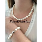 Parelset ketting armband ronde zoetwaterparels witte 10mm 46cm 18,5 cm