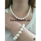 Verkocht Parelset ketting  armband ronde zoetwaterparels, magneet slot wit groot 12mm  46cm 20,5cm.