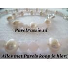 Parelset wit roze collier armband zoetwaterparels rozenkwarts modern zilveren