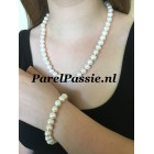 Parelset armband collier grote zoetwaterparels 9x10-11mm modern zilveren slot
