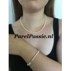 Parelset ketting armband zoetwater 4 - 5mm 43cm 19cm maatservice zilver voor bruid