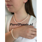 Parelketting parelarmband zoetwaterparels 6mm - 6.5mm 45cm 18,5cm bruid