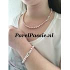 Roze parel set collier armband7-7,5 mm prachtig luster glans modern slot zilver