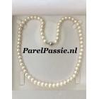 Parelcollier witte 6-6,5mm parels met bolslot zilver 50cm nieuwe foto's worden gemaakt