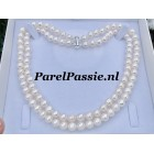 Dubbele parelketting collier zoetwaterparels 8 - 9mm 2-rijig 42- 45cm
