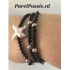 Kruis parel onyx ketting of  armband zoetwaterparels, zilveren slot 58cm  ,