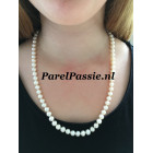 Parelketting  zoetwater roomwit 7-8mm AAA zilver slot  56 cm extra lang ,