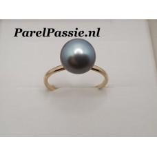 Blauwe Tahiti Parelring 14k goud 585 JKa modern strak parel los kopen naar wens de laatste maat 18