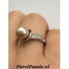 Roze parelring zilver met 8,3mm zoetwaterparel, AAA mt 17,5