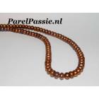 Bruin 6-6,5mm los parelsnoer, prachtig luster, 37cm om parelketting van te maken