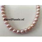 Roze parelsnoer zoetwaterparels donker roze prachtig luster. 7,3 - 8,5mm