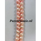 Baby roze Parelsnoer gekleurde  8mm ca. 41,5cm om parelketting van te maken