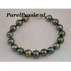 Tahiti parelarmband pauw kleurig donkere grijze groen blauw zoutwater parels  9mm -11mm zilveren slot