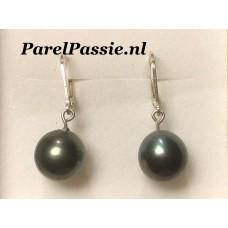 Tahiti pareloorbellen zwart met groene tone 11.5 x 12mm zilveren brisuren
