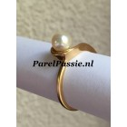 Parelring goud Akoya zoutwater parel 6,2mm occ., 14k 585 mt 17,75 56