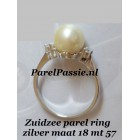Design  zilveren ring met 9mm champagne parel, AAA mt 18 zuidzee